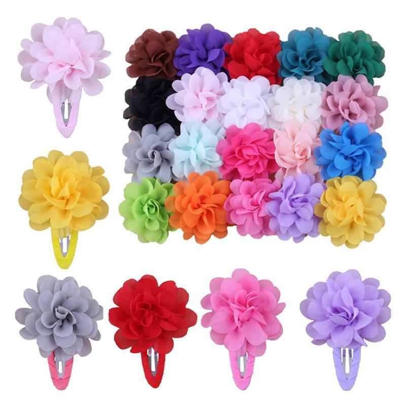 2Pcs Kids Girls Chiffon Flowers Hair Clip Barrettes Hairpin Headdress Hair Band