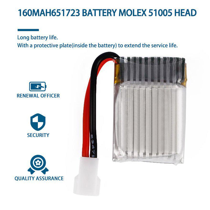 Lipo Battery for RC Molex 51005 3.7V 160mAh High capacity and long life span