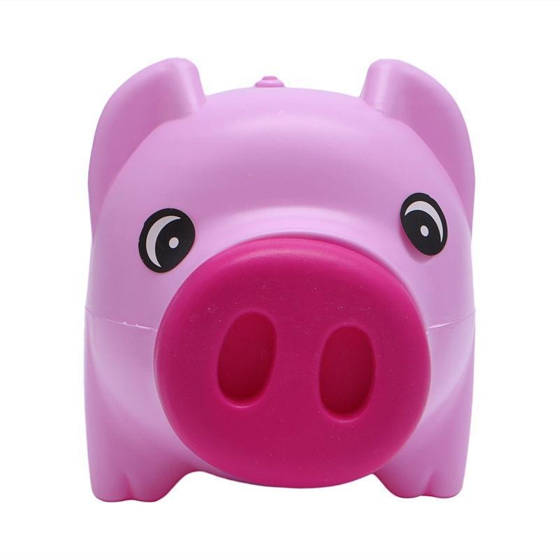 VEIREN Cute Pig Piggy Bank Plastic Coin Money Cash Collectible Container Creative Unbreakable Coins Saving Storage Box for Children Kids Toy Gifts Miniature Pig Figurine Home Desktop Ornament Beige