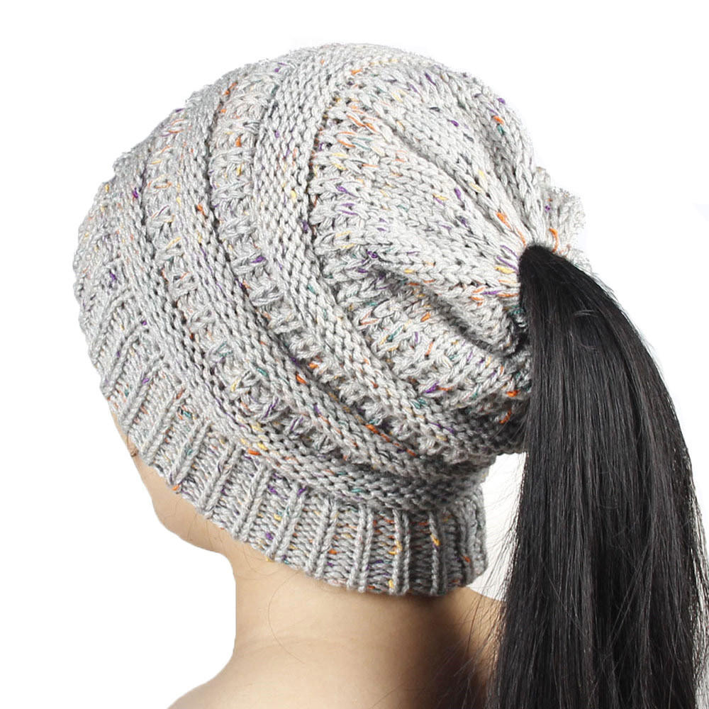 Mujeres holgado ganchillo cálido invierno lana Knit esquí gorro ...