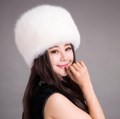 1b42057f182 Elegant Women Winter Rabbit Fur Warm Hat Knitted Hats Caps Flat Top Fleece  Beanies