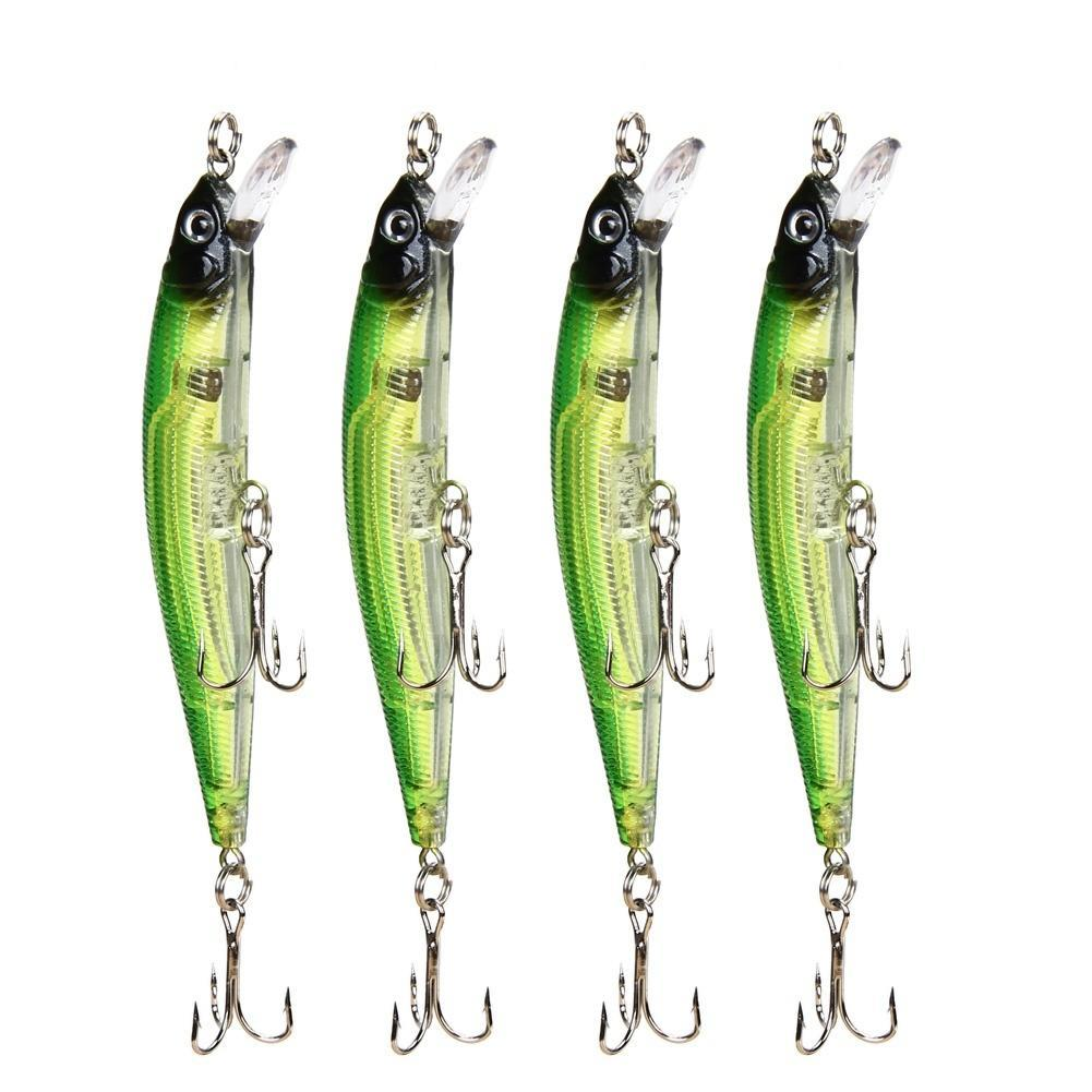 4x Plastic Beads Sound Fishing Lure Minnow Crankbait Jerkbait  Hard Bait Tackle