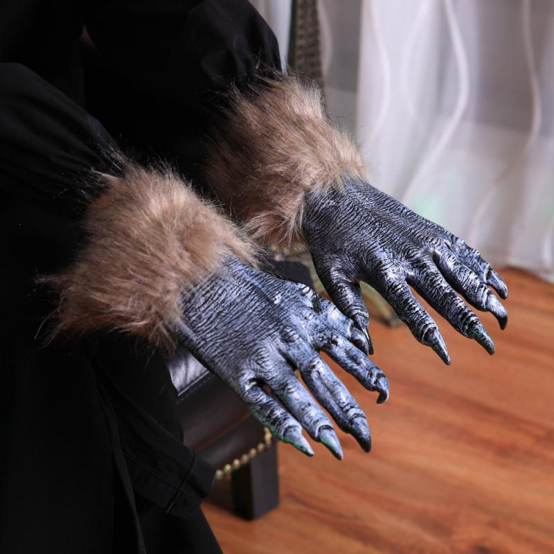 1Pair Halloween Werewolf Wolf Paws Claws Cosplay Gloves Creepy Costume Party