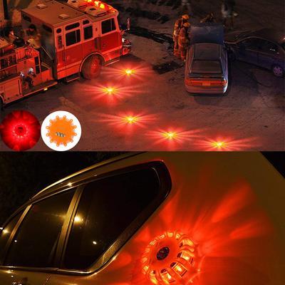 2PCS Beacon Magnetic Road Flare Emergency Strobe Warning LED Safety Light Yellow