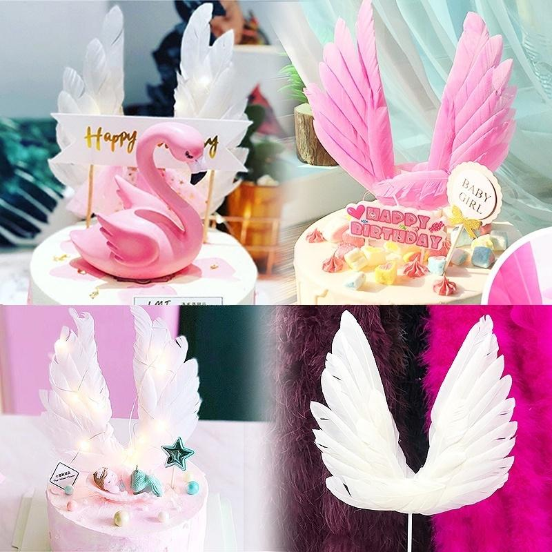 Pack Shiny Feather Cupcake Picks Cake Toppers Baby Shower Party 60pcs