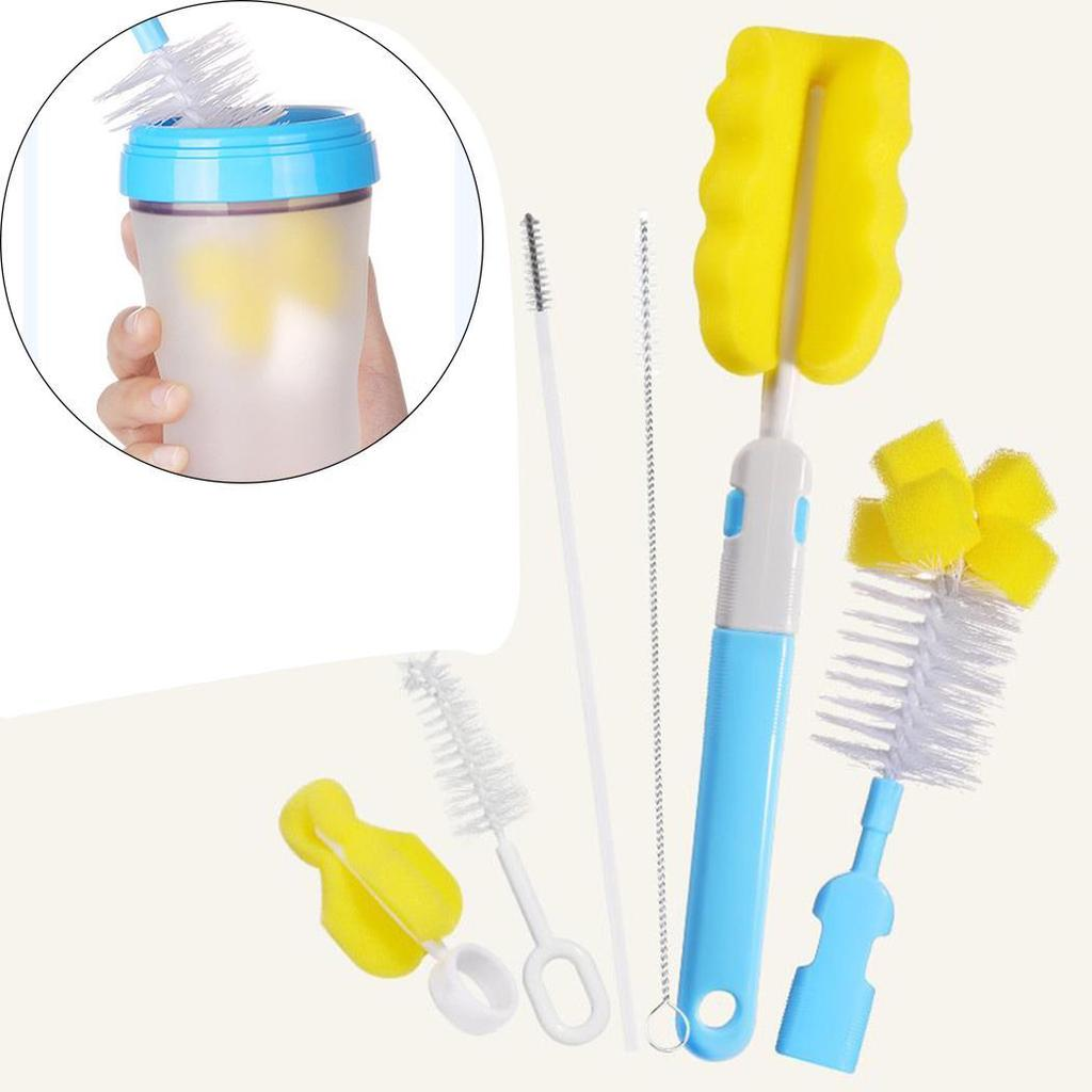 Green Baby Nipple Brush Drinking Straw Brush Cleaning Set Tools for Baby Feeding Bottles Nipple Pacifier and Accessories 6 in 1 Bottle Brush Cleaner Kit