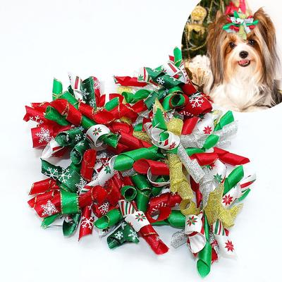 Dinfoger 60PCS Imitation Rhinestone Dog Puppy Hair Bows Pet Hair Grooming Decor Bowknot with Random