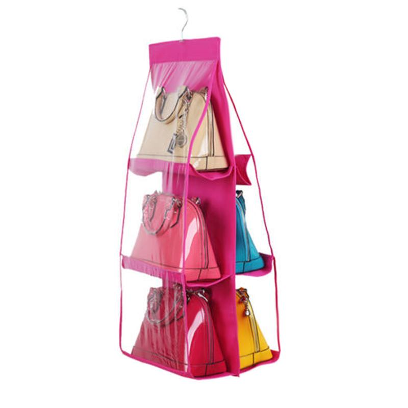 6 Pockets Clear Hanging Purse Handbag