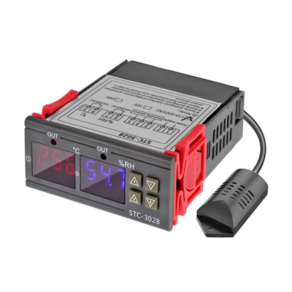 JVSISM Stc-3028 Medidor De Humedad De Temperatura Digital 110-220 V 10A Termostato Pantalla Dual Term/ómetro Higr/ómetro Controlador Ajustable 0~100/% Rh