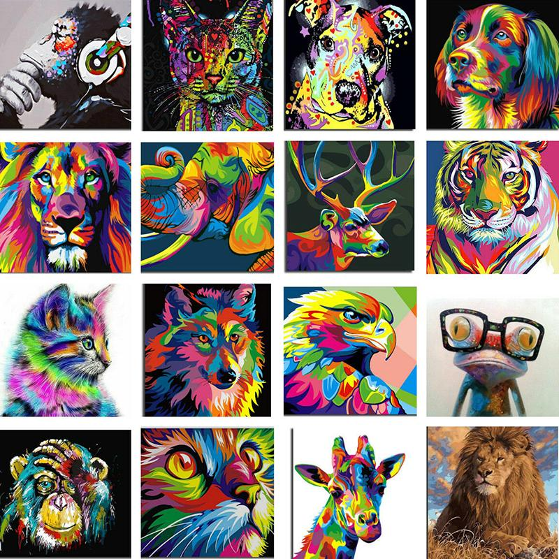 Colorful Deer Paint By Numbers Kits DIY Number Canvas Painting Hand Diamond Cube