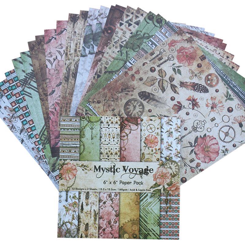 24PCS//Set Paper Craft DIY Photo Album Scrapbook Paper Account Card Making