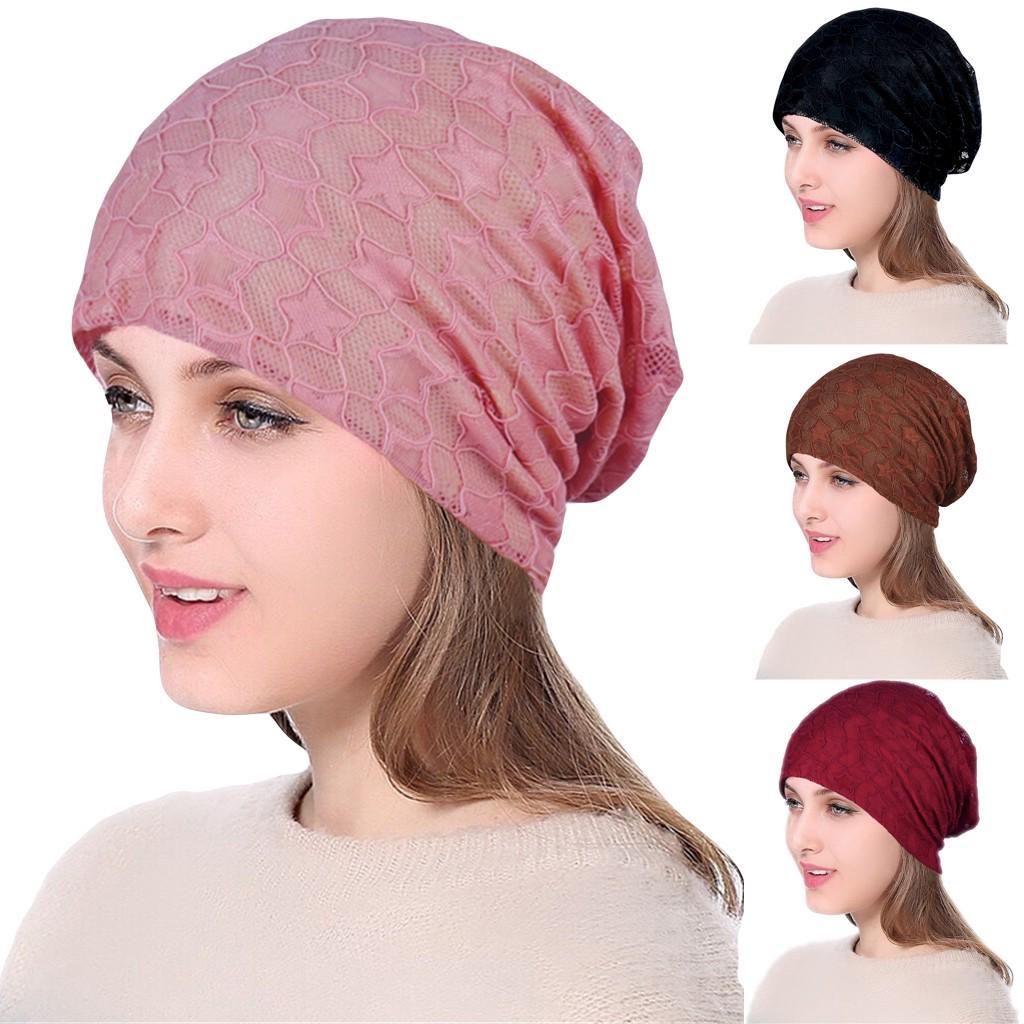Winter Warm Kniting Head Cover Night Cap Sleep Bonnet Turban Hat Headband Women