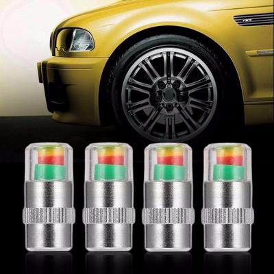 Mini 2.4 Bar Car Tire Pressure Monitor Valve Stem Cap Sensor Indicator Alert 4Pc