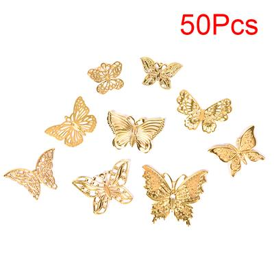 30 Pcs Hollow Filigree Butterfly Slice Charms Setting DIY Jewelry Supplies