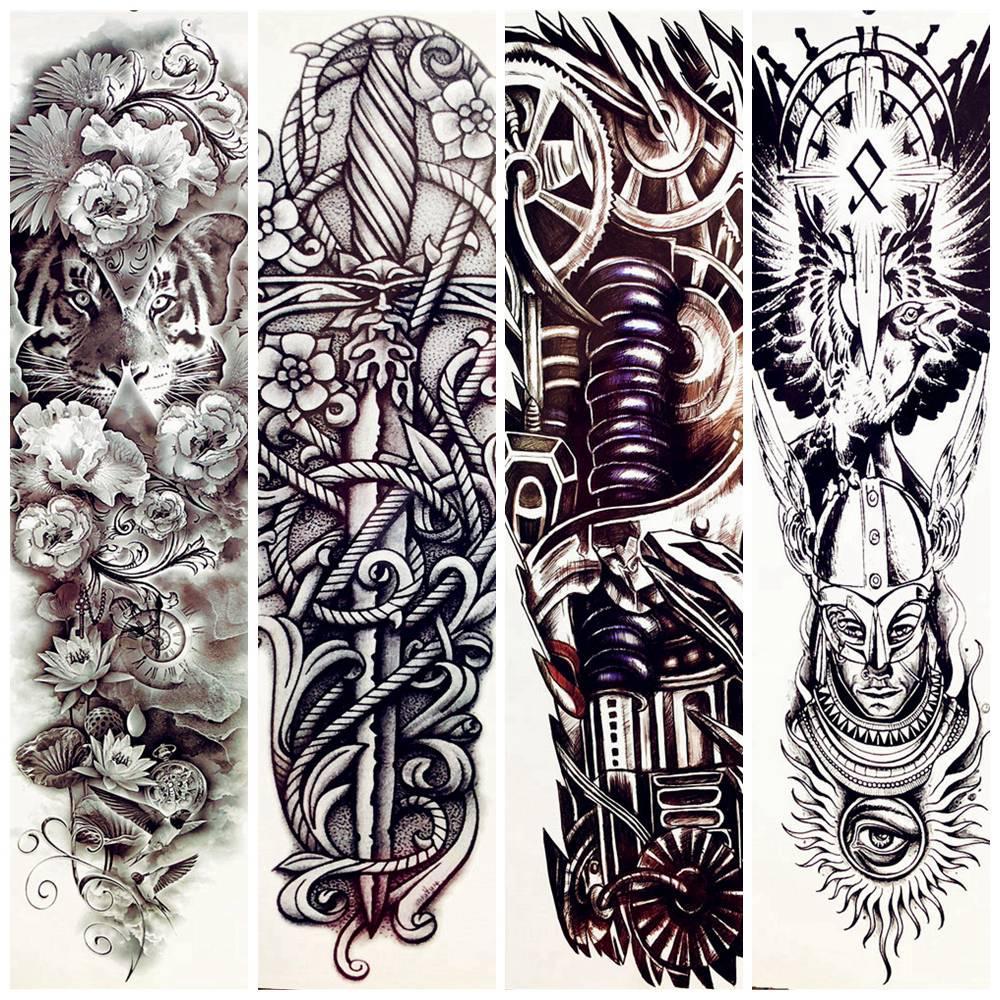 20PC Full Arm Tattoos Temporäre mechanische Totem Fake Waterproof Tatoos  Sticker