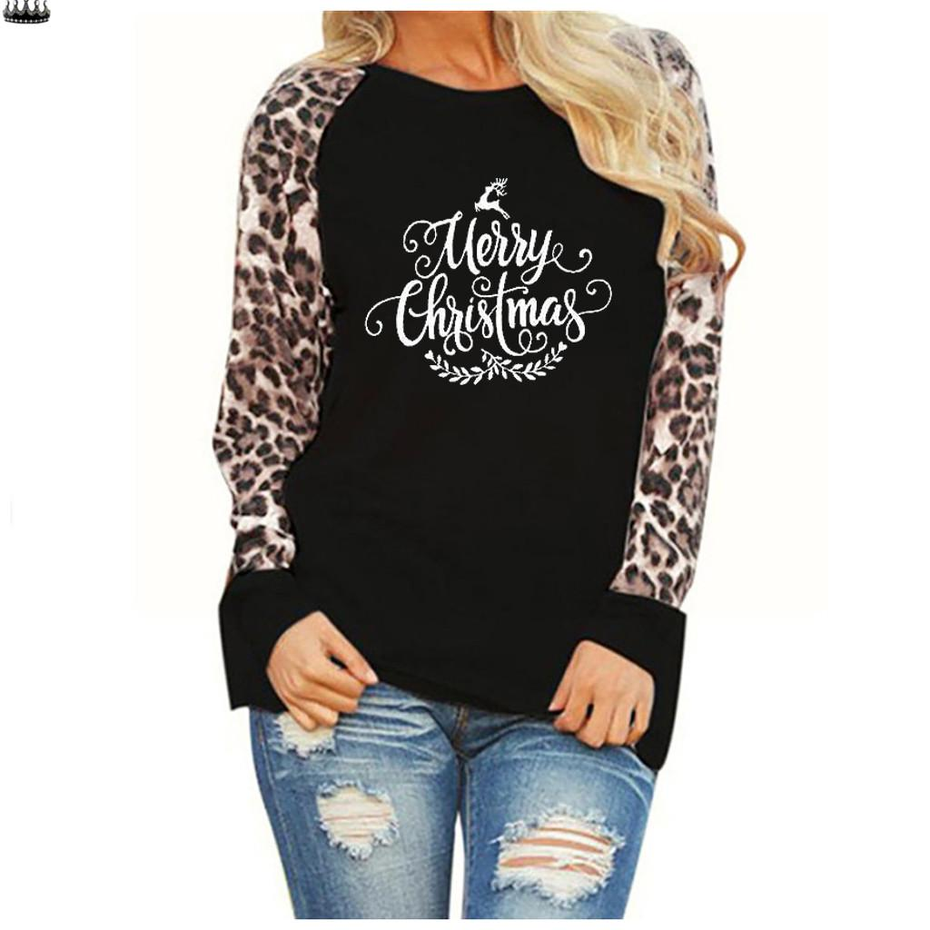 Womens Long Sleeve Leopard Splice Pullover Tunic Autumn Fashion Crewneck Casual Blouse T-Shirts Tops