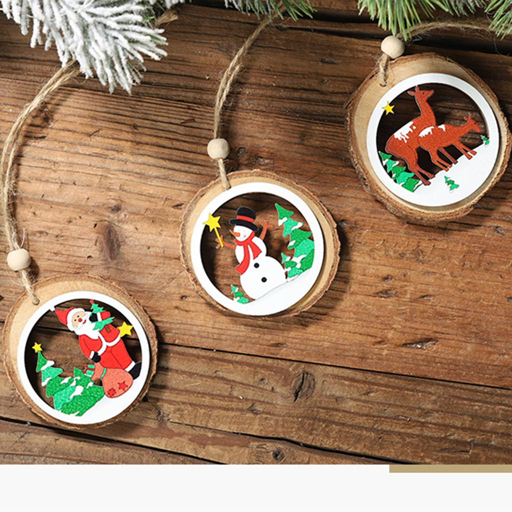 Christmas Tree Decoration Wooden Pendant Hanging Door Xmas Ornament Home Party C
