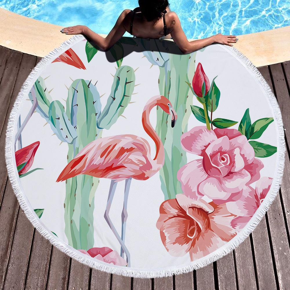 Thick Round Beach Towel Blanket Pink Flamingo Microfiber Picnic Carpet Yoga Mat