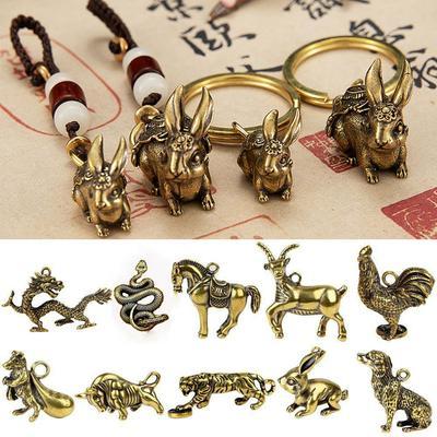 Handmade Lines Keychain Accessories Key Pendant Copper Miniatures Figurines Bull Ornament Sculpture