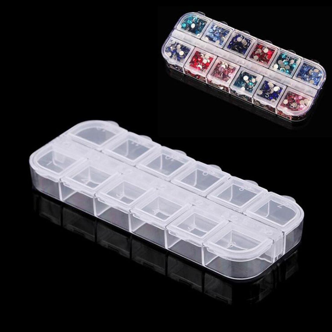 12 отсеков/много пластиковых Ювелирные Box ногтей аксессуар ясно футляр фото