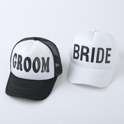 e9bcf9acc5e GROOM BRIDE Print Couple Hats men Women Wedding Preparewear Trucker Caps  White Neon Summer Mesh cap