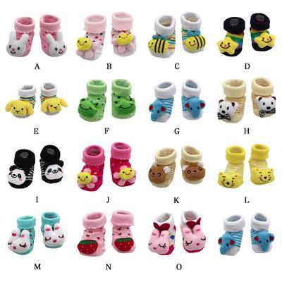 Colorful Newborn Baby Cartoon Floor Socks Newborn Baby Girls Boys Anti-Slip Socks Slipper Shoes Boots TM