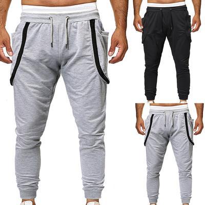Men Casual Zip Embellished Drawstring Elastic Waist Sports Jogger Pants Trousers