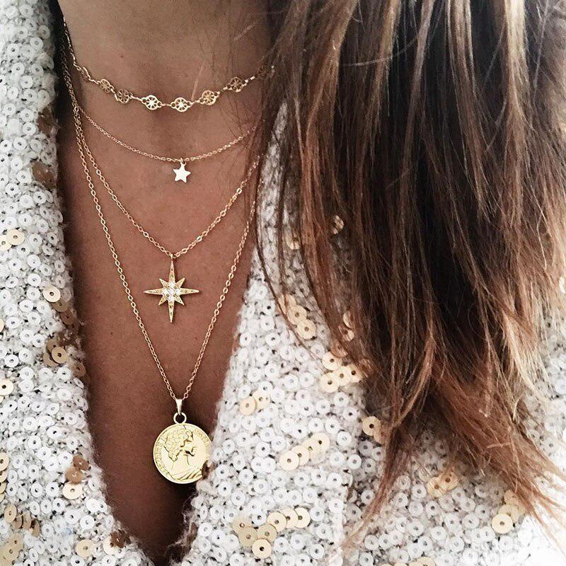 Retro locket pendant multi-strand necklace for harvest
