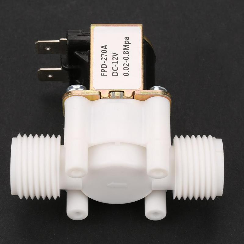 Solenoid Water Valve,12V G1//2 NC Plastic Electrical Inlet Solenoid Water Valve for Water Dispense