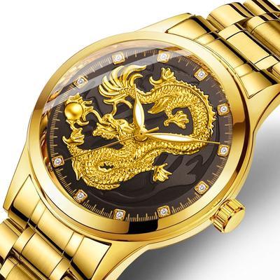 Luxury Men Stainless Steel Wristwatch Diamond Unique Waterproof Gold Dragon Sculpture Quartz Watch Daily Water Resistance