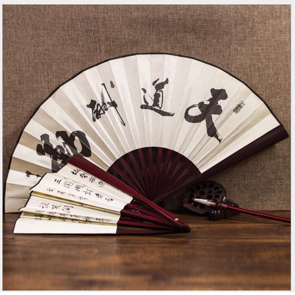 Chinese Japanese Folding Silk Hand Bamboo Pocket Fan Flower White Clear Black