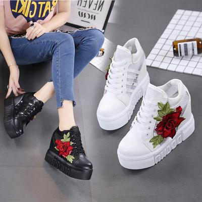 Women Casual Shoes Lace Up Flowers Embroidery Platform High