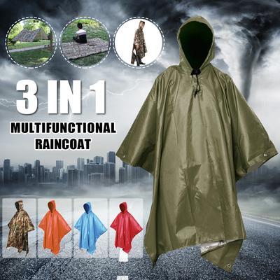 Multifunction Poncho Raincoat Shade Shelter Tent Backpack Rain Cover Camp Hiking