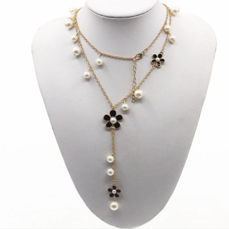 Fashion Elegant Women Pearl Flower Sweater Chain Long Pendant Necklace Jewelry