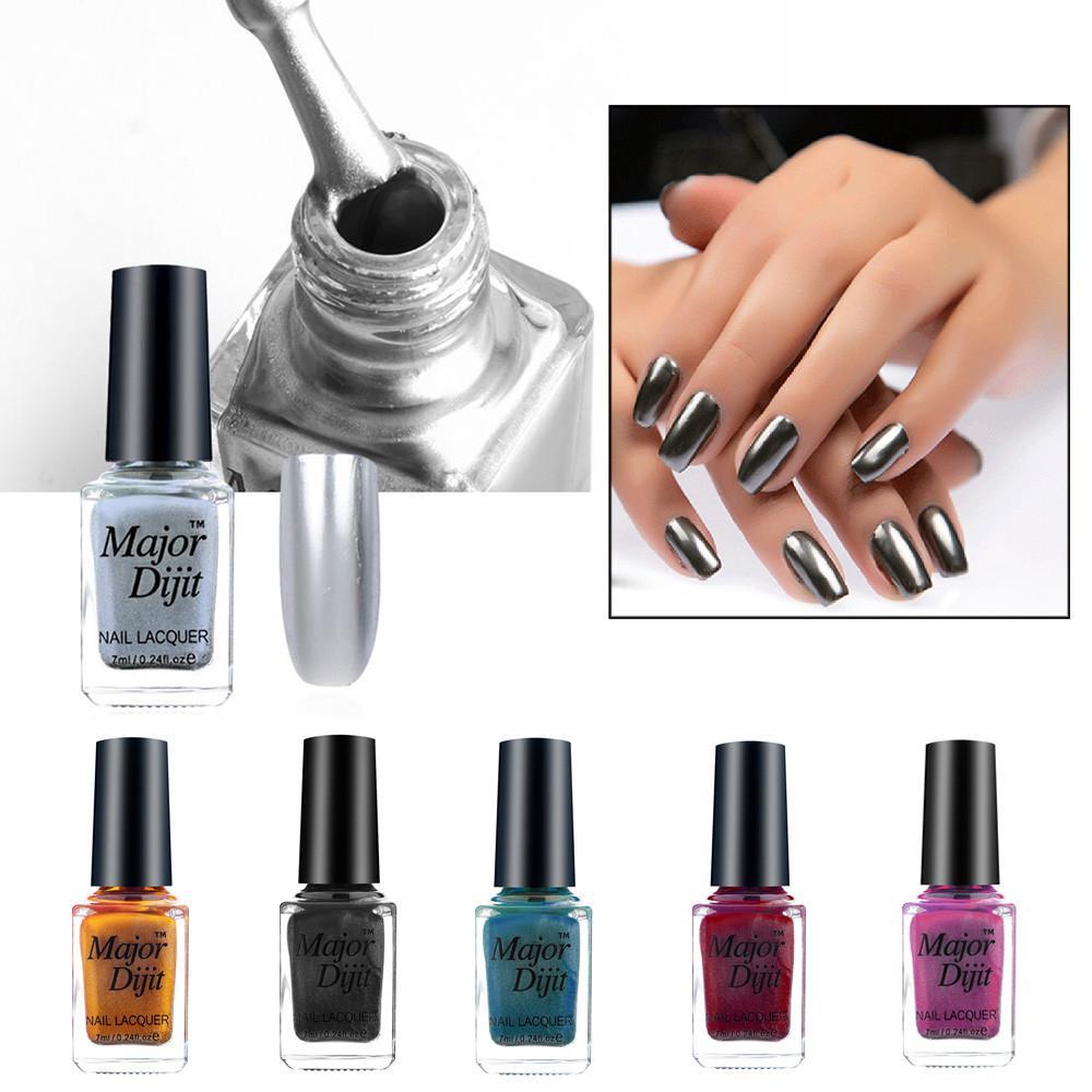 Esmalte de uñas espejo goma Metal Color acero de la galjanoplastia ...