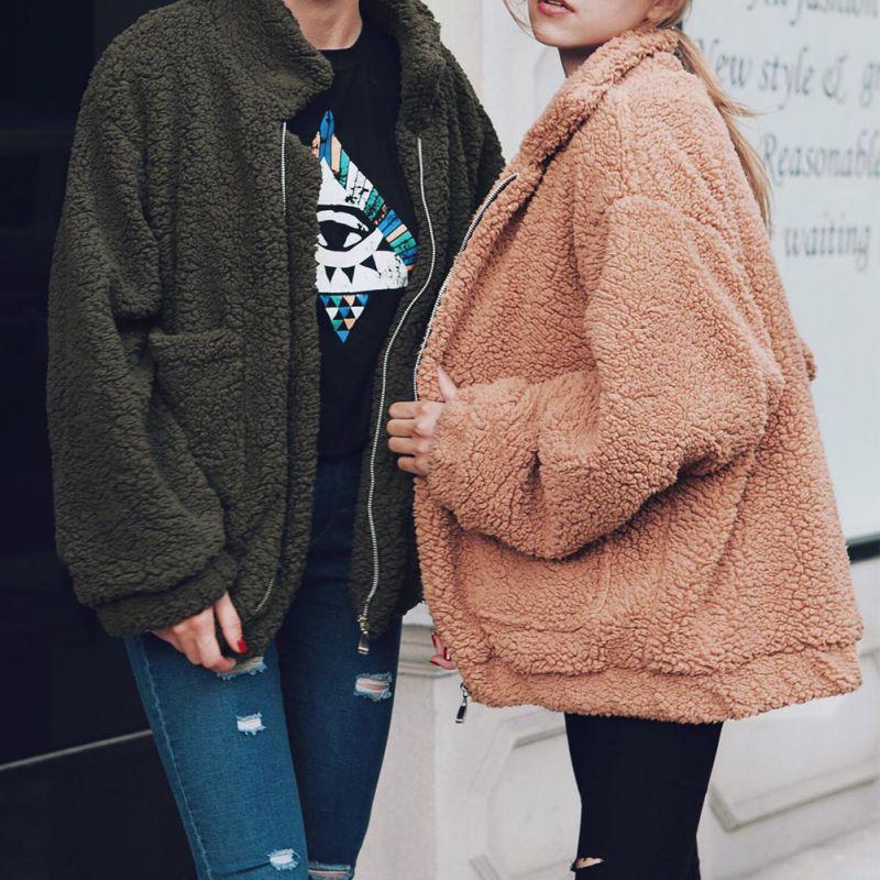 Элегантное пальто женщин Осень Зима Теплый Мягкий Циппер Мех куртка женский плюшевый пальто Карманный Тедди Outwear – купить по низким ценам в интернет-магазине Joom