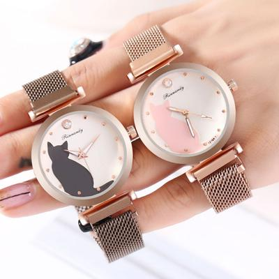 2020 New Fashion Simple Women Watches Ladies Watch Cute Cat Dial Magnet Buckle Alloy Watch Rose Gold Clock Reloj Mujer /d