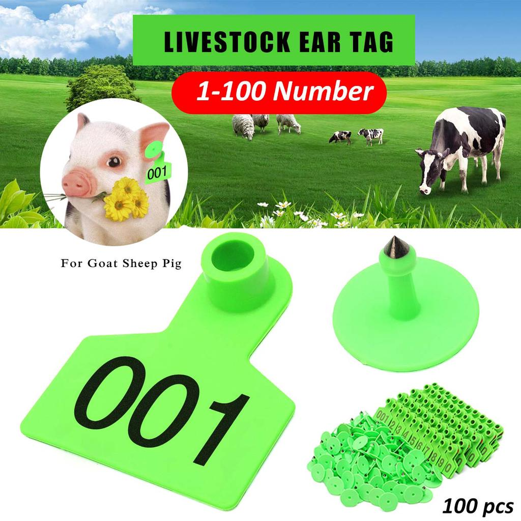 100 Sets Numbered Plastic Livestock Ear Tags for Cattle Pigs Calf Hogs Goat A...