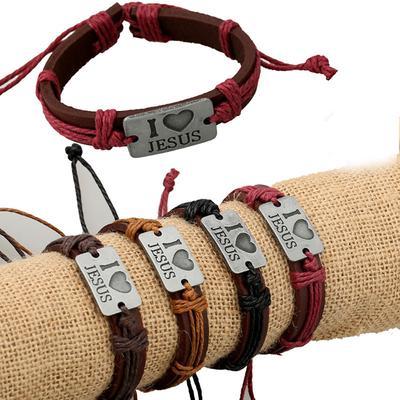 "Unisex Fashion /""I Love Jesus/"" Wristband Bracelet Wrap Cuff Bangle Jewelry"