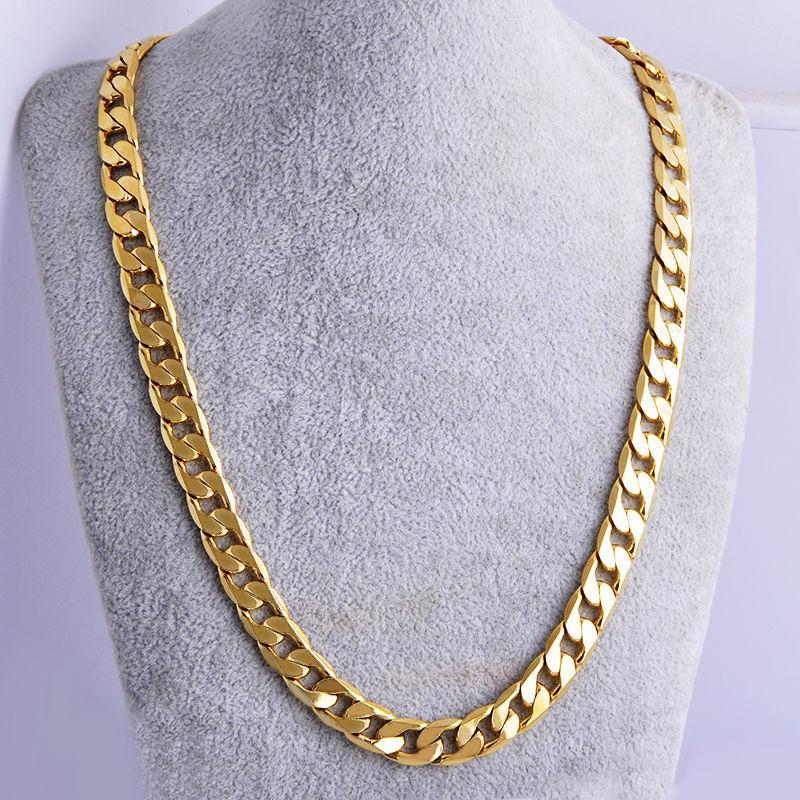 """Dugu Новый Unisex 24"""" 7мм желтый твердый 18K Заполненные кубинские цепи ссылка ожерелье – купить по низким ценам в интернет-магазине Joom"""
