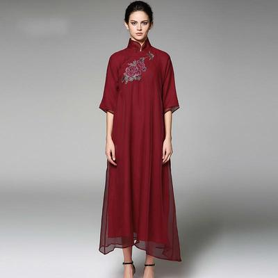 Pokwai Long Dress POKWAI Vintage Dress Half Sleeve Embroidery Floral A-Line Summer Silk  Dresses