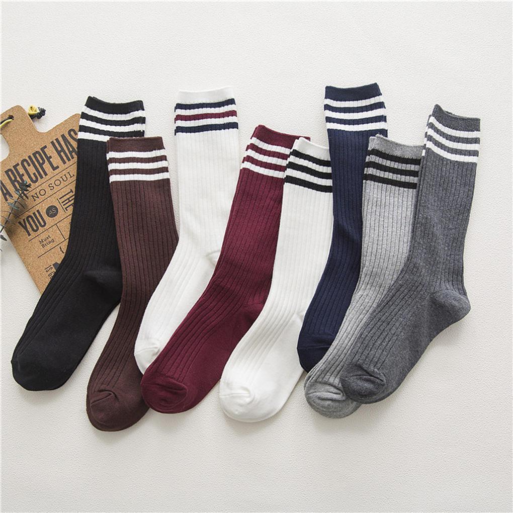 秋冬新款堆堆袜女 双针三条杠袜子 潮款学院风中筒棉袜 厂家批发