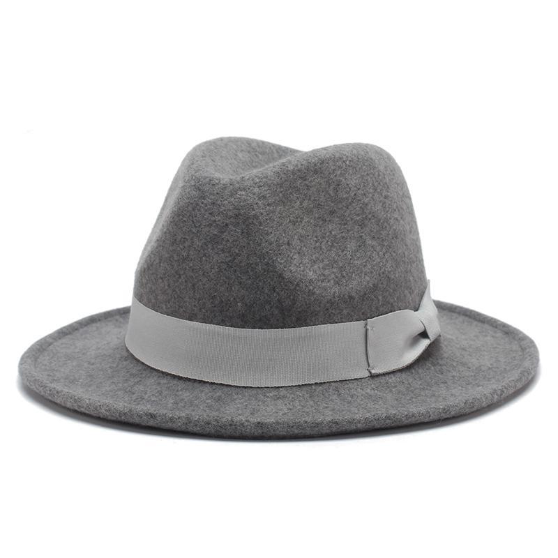 6baa2d503ee Fashion Unisex Fedora Hats Autumn Winter Wool Panama Hat Bow-knot ...