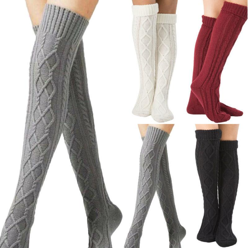 Women Ladies Thick Sock Knit Woolen Yarn Over Knee-Stocking Warmer High Socks