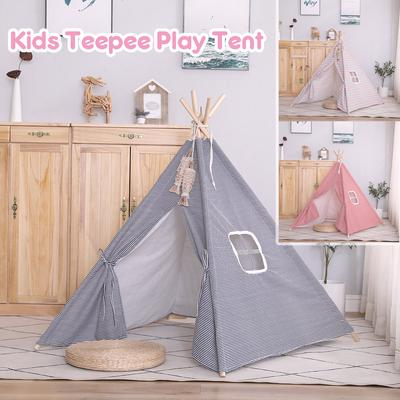 135CM 165CM Cotton Teepee Play Tent Kids Playhouse Outdoor Childrens Gift