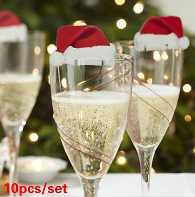 10 Pcs / Set New Christmas Decorations Hats Champagne Glass Decor Paperboard Noel Decoration