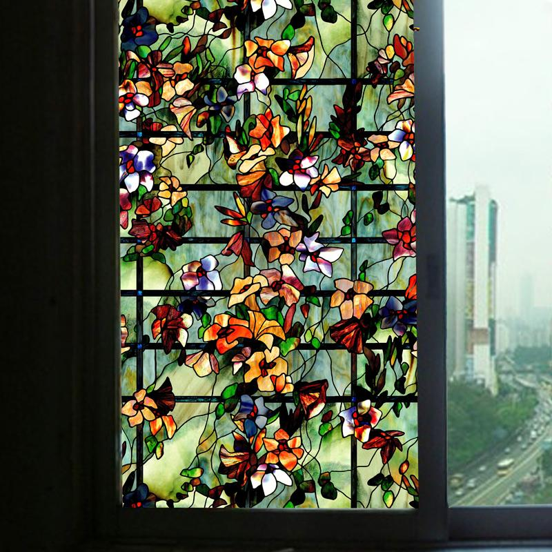 Frosted Static Cling Floral Stained Glass Window Film Sticker Privacy Home Decal