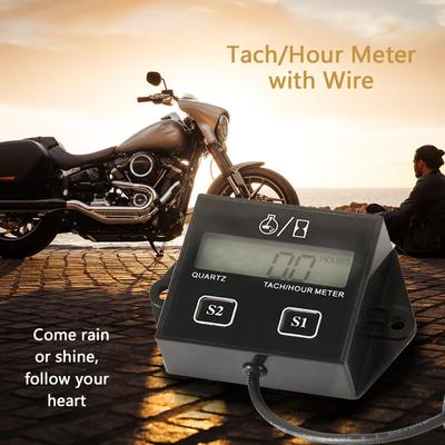High Performance Car Digital Engine Tach Tachometer Hour Meter Inductive for Motorcycle Car Motor Stroke Engine