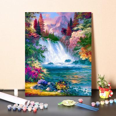Acrylic Pigment DIY Paint by Numbers Canvas Oil Painting Kit for Kids /& Adults Amsterdam Lights 16 x 20 Drawing Paintwork with Paintbrushes