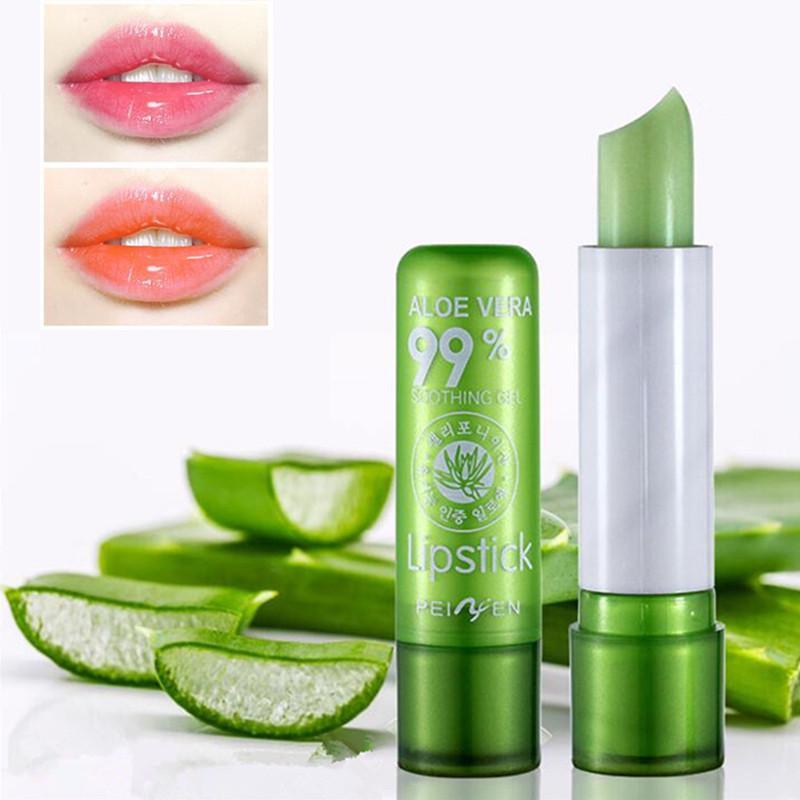 Бальзам для губ Алоэ не будет исчезать макияж губ температуры использования постоянного увлажнитель для изменения цвета фото